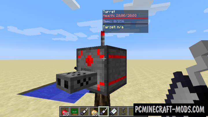 Turret Mod Rebirth Mod For Minecraft 1.12.2, 1.11.2, 1.10.2, 1.7.10
