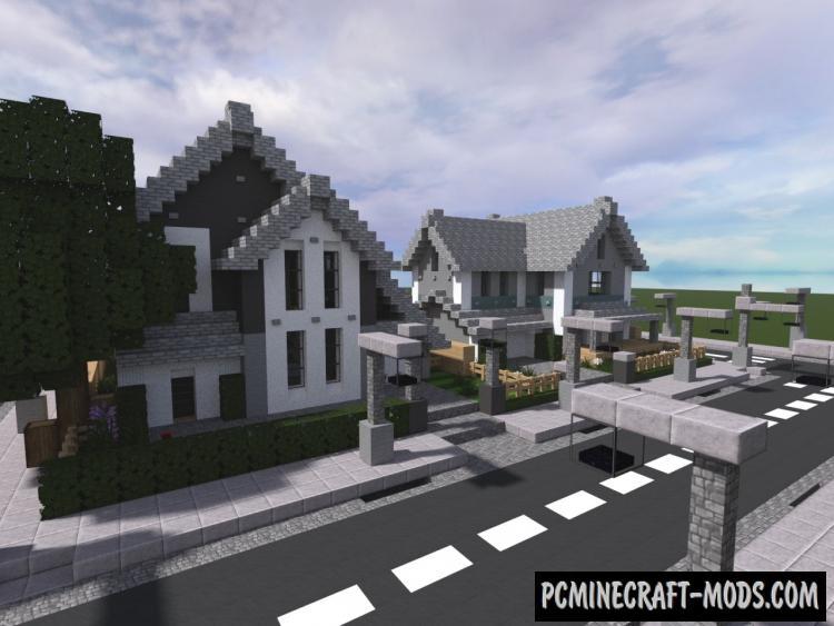 Suburban Street - Town, House Map Minecraft