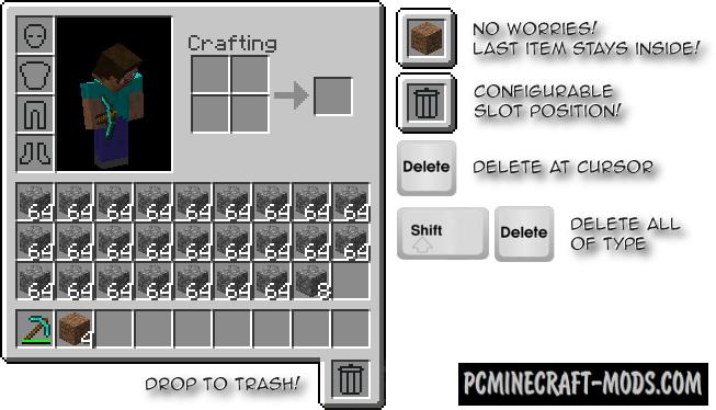 TrashSlot - Tweak Mod For Minecraft 1.16.5, 1.14.4, 1.18.9