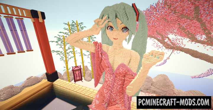 Hatsune Miku - Hot Spring Map For Minecraft