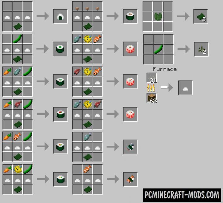 Sushi - Japan Food Mod For Minecraft 1.12.2, 1.11.2, 1.10.2