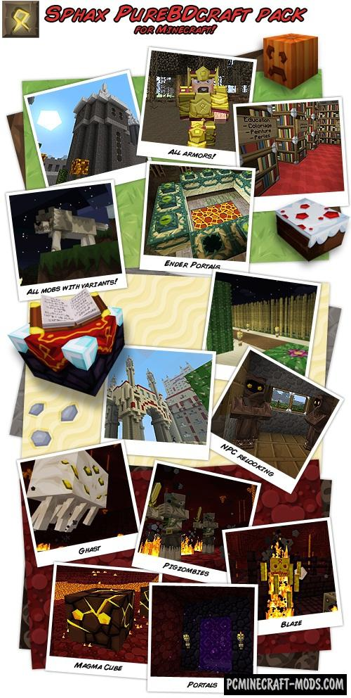 Sphax PureBDCraft 128x128 Resource Pack Minecraft 1.14.4