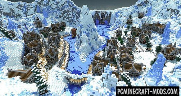 Winter's Secret - Town, Puzzle Map For Minecraft