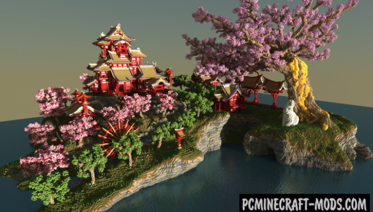 April-cherry tree - Sakura Island Map For Minecraft