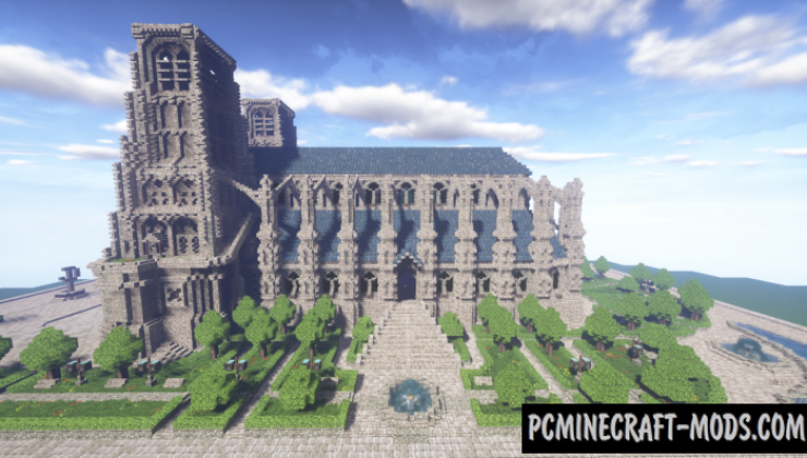 A Gothic Cathedral - Building Map For Minecraft