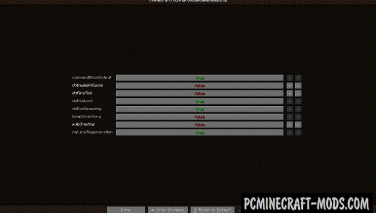 Global GameRules - GUI Mod For Minecraft 1.16.4, 1.14.4