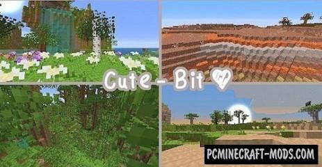Cute – Bit Resource Pack For Minecraft 1.7.10, 1.7.9, 1.7.2, 1.6.4