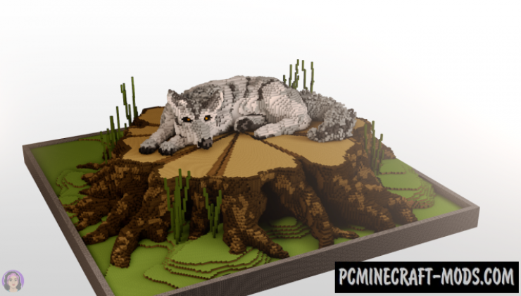 Wolf on a Stump - 3D Art Map For Minecraft