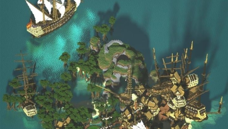 Ship Sack Shanty Town Map For Minecraft
