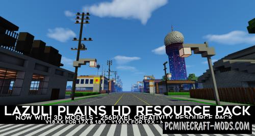 Lazuli Plains 3D - 256x Texture Pack For MC 1.10.2, 1.9.4, 1.8.9