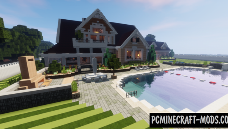 Large Suburban House Map For Minecraft