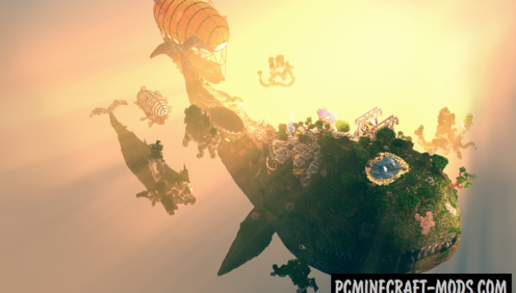 Floating Whale Village - 3D Art Map For Minecraft