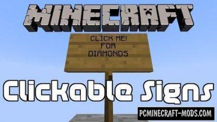 Sign Button Mod For Minecraft 1.13.2, 1.12.2
