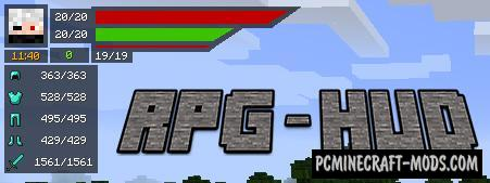 RPG-Hud - GUI, HUD Mod For Minecraft 1.16.5, 1.16.4, 1.12.2