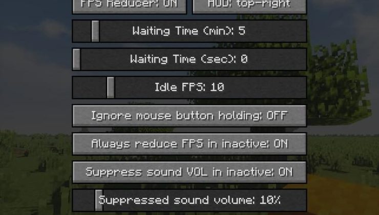FPS Reducer Mod For Minecraft 1.14.4, 1.14.2, 1.13.2