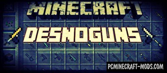 Weapons Mod - DesnoGuns For Minecraft PE Bedrock 1.2.11, 1.2.10, 1.2.9