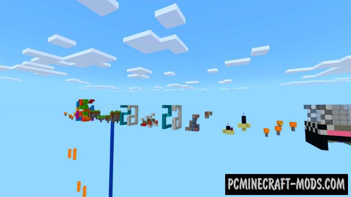 Flying Zombies Parkour Minecraft PE Bedrock Map 1.2.11, 1.2.10