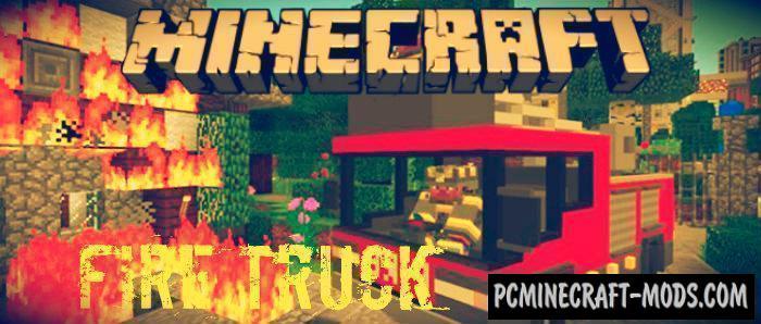 Fire Truck Minecraft PE Bedrock Addon 1.9.0, 1.7.0