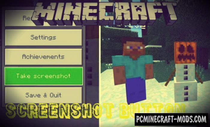Take Screenshot Button Minecraft PE Bedrock Addon 1.9.0, 1.8.0