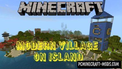 Modern Village on Island Minecraft PE Bedrock Map 1.2.11, 1.2.10
