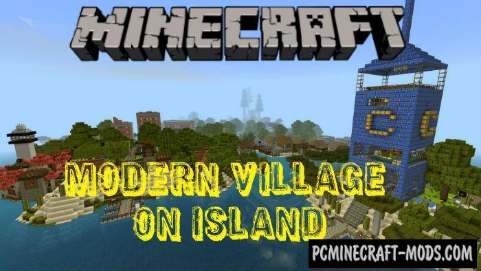 Modern Village on Island Minecraft PE Bedrock Map 1.4.0, 1.2.13