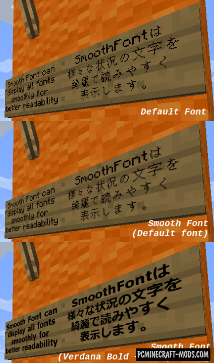 Smooth Font Mod For Minecraft 1.12.2, 1.11.2, 1.10.2, 1.7.10