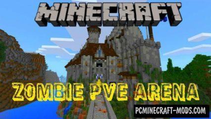 Zombie PVE Arena Minecraft PE Bedrock Map 1.2.9, 1.2.8