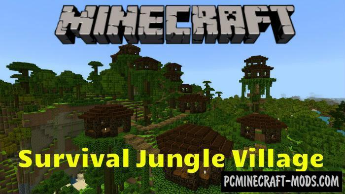 Survival Jungle Village Map For Minecraft PE 1.4.0, 1.2.13