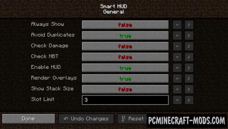 Smart HUD Mod For Minecraft 1.12.2, 1.11.2