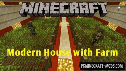 Modern House with Farm Minecraft PE Map Bedrock 1.2.14, 1.2.11