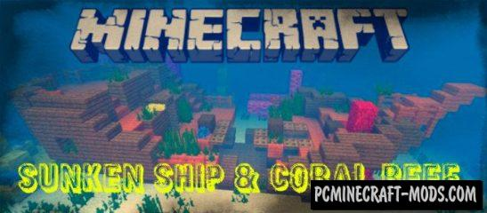 Sunken Ship and Coral Reef Seed Minecraft PE 1.3.0 Aquatic Update