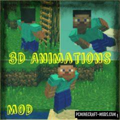 3D Animations for Steve Minecraft Bedrock Edition Mod 1.6.1, 1.5.3