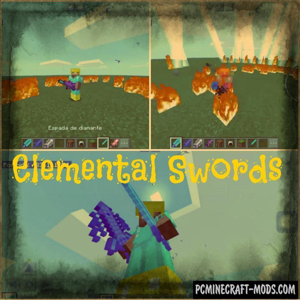 Elemental Swords Minecraft PE Mod 1.9.0, 1.8.0