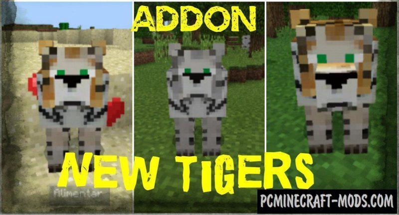 New Mobs - Tigers Minecraft PE Bedrock Mod - Addon 1.11, 1.10, 1.9.0