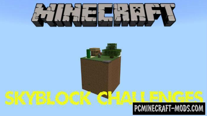 Skyblock Hard Challenges Minecraft PE Bedrock Map 1.9, 1.8, 1.7