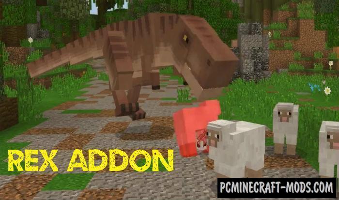 Tyrannosaurus Rex Minecraft PE Addon 1.11 iOS, Android