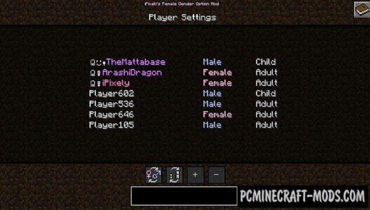 iPixeli's Gender Mod For Minecraft 1.12.2, 1.11.2, 1.10.2, 1.7.10