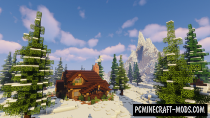 Snowy Forest Cabin Map For Minecraft