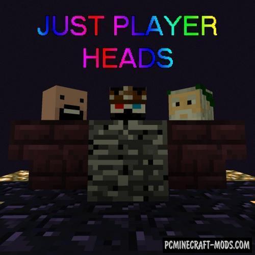 Just Player Heads - Tweak Mod For Minecraft 1.16.5, 1.16.4