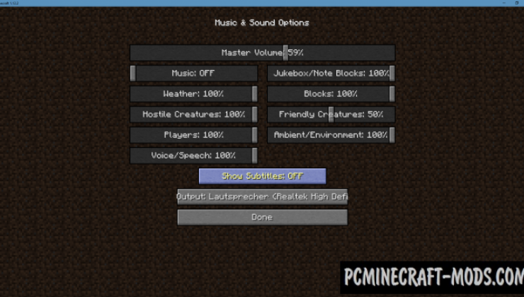 Sound Device Options - Tweak Mod For MC 1.16.5, 1.12.2