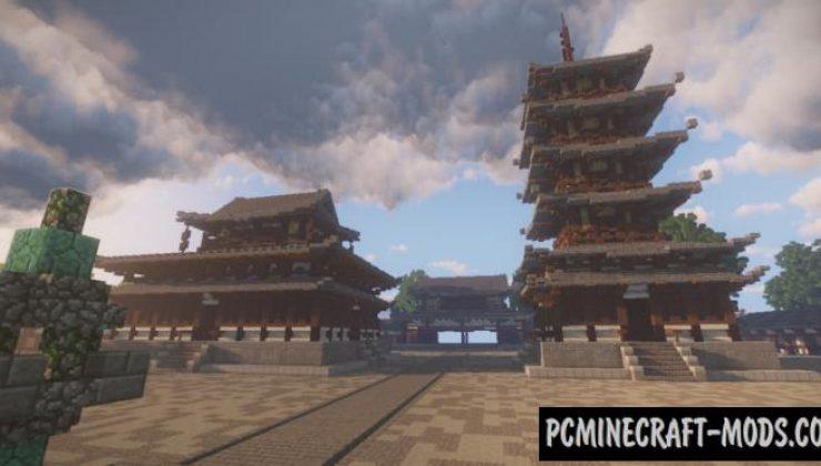 Hōryū-ji Temple Map For Minecraft