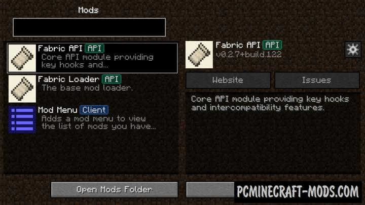 Fabric Mod Menu - GUI Mod For Minecraft 1.15, 1.14.4 | PC ...