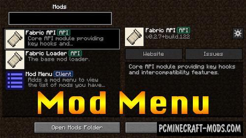 Fabric Mod Menu - GUI Mod For Minecraft 1.16.2, 1.15.2