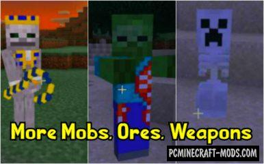 More Mobs, Weapons, Ores Mod For Minecraft PE 1.14.0, 1.13.0