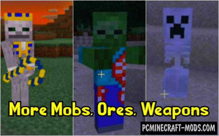More Mobs Weapons Ores Mod For Minecraft Pe 1 16 1 14 Pc Java Mods