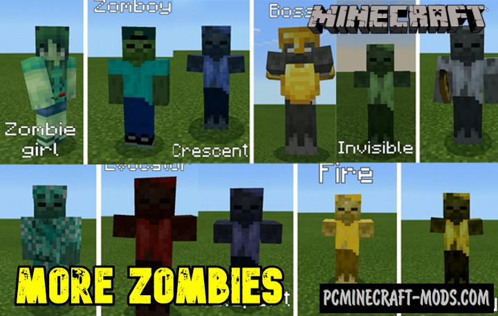 More Zombies Addon For Minecraft PE 1.14.0, 1.13.0