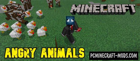 Angry Animals Addon For Minecraft Bedrock 1.14, 1.13