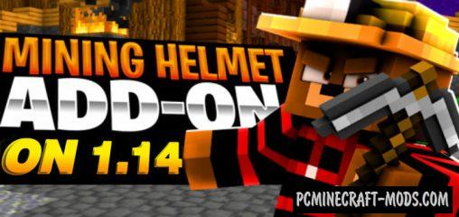 Mining helmet Addon For Minecraft PE 1.14, 1.13 iOS/Android