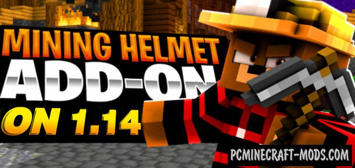 Mining helmet Addon For Minecraft PE 1.16, 1.14 iOS/Android