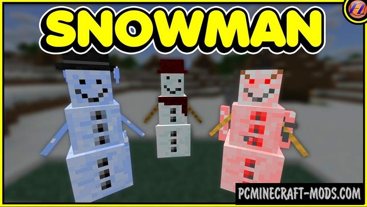Snowman - Mob Addon, Mod For Minecraft 1.16, 1.14